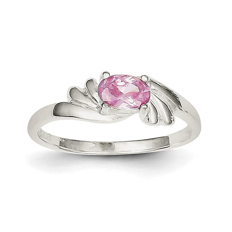 Sterling Silver Pink Oval CZ Ring - shirin-diamonds