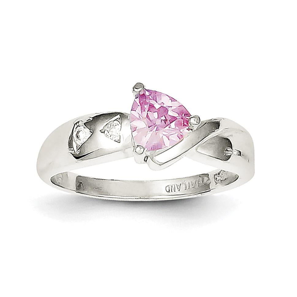 Sterling Silver Pink Trillion CZ Ring - shirin-diamonds