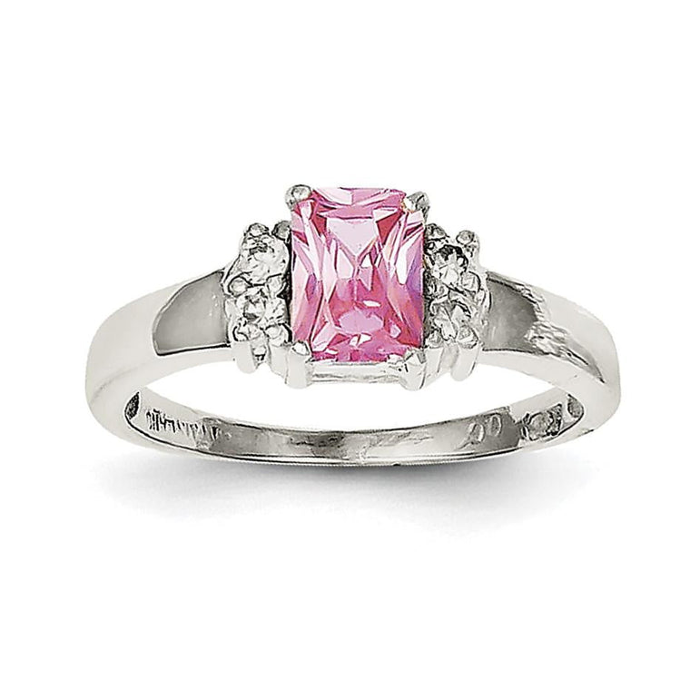 Sterling Silver Pink & White CZ Ring - shirin-diamonds