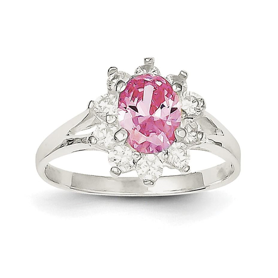 Sterling Silver Pink Oval CZ Cluster Ring - shirin-diamonds