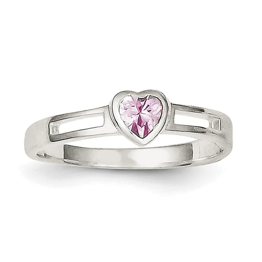 Sterling Silver Pink CZ Heart Ring - shirin-diamonds