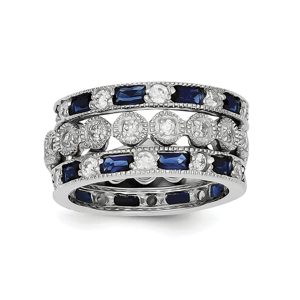 Sterling Silver Triple Band Blue, White & Clear Circle Center Ring - shirin-diamonds