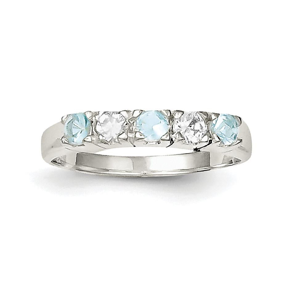 Sterling Silver Light Blue & White CZ Ring - shirin-diamonds