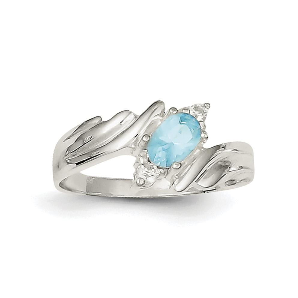 Sterling Silver Light Blue Oval CZ w/Side Stones Ring - shirin-diamonds
