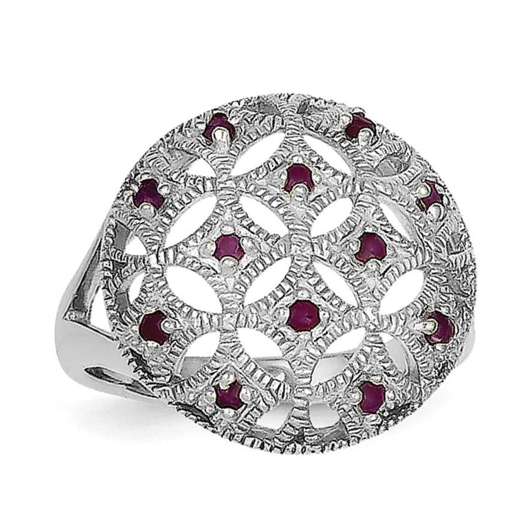 Sterling Silver Rhodium-plated Ruby Circle Ring - shirin-diamonds