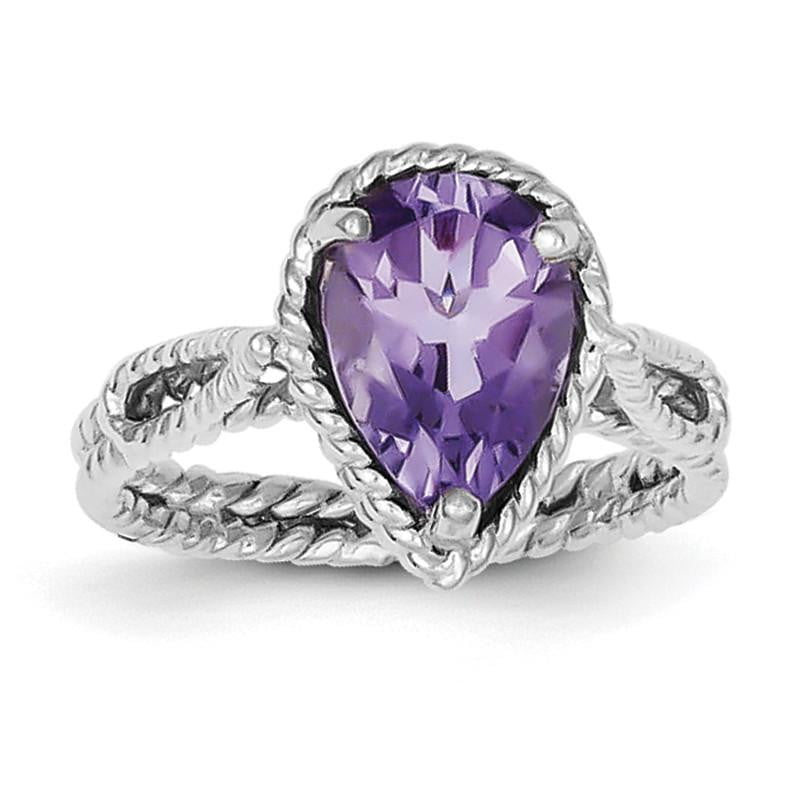 Sterling Silver Rhodium-plated Amethyst Pear Twisted Ring - shirin-diamonds