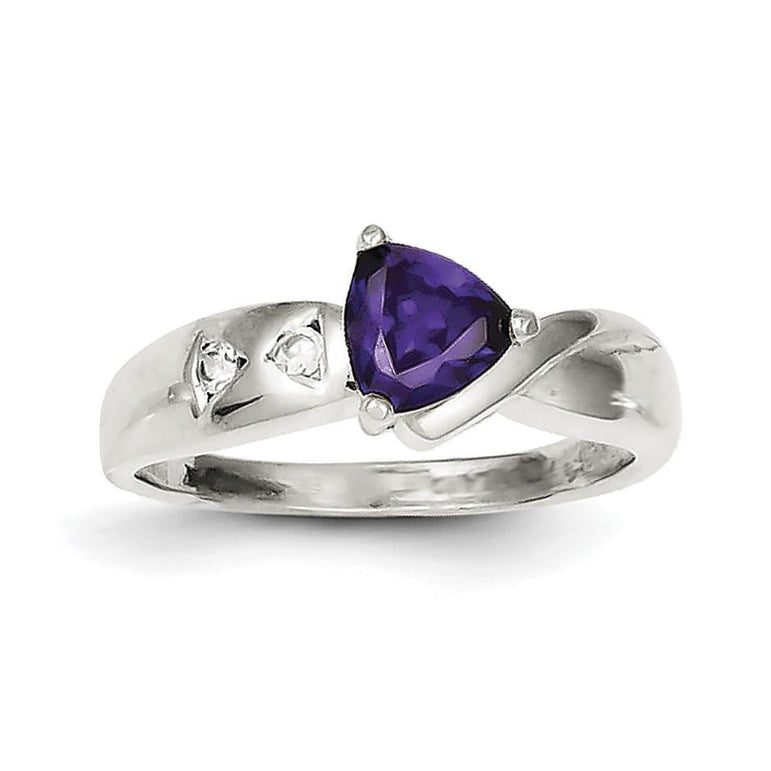 Sterling Silver Purple Trillion CZ Ring - shirin-diamonds