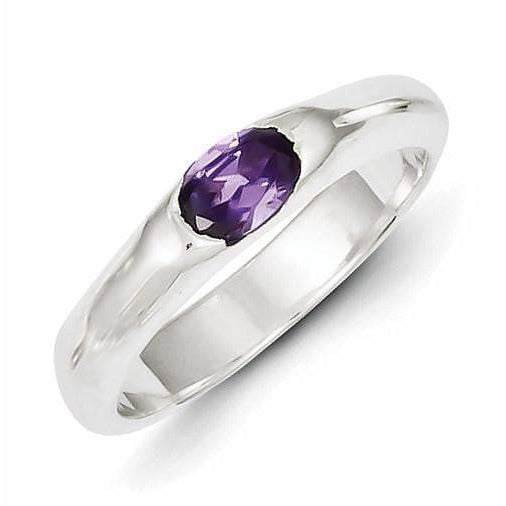 Sterling Silver Purple Oval CZ Half Bezel Ring - shirin-diamonds