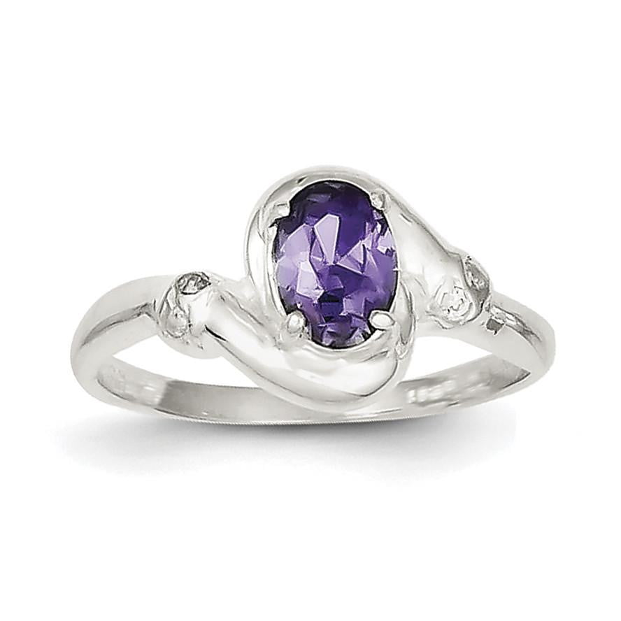 Sterling Silver Purple Oval CZ Ring - shirin-diamonds