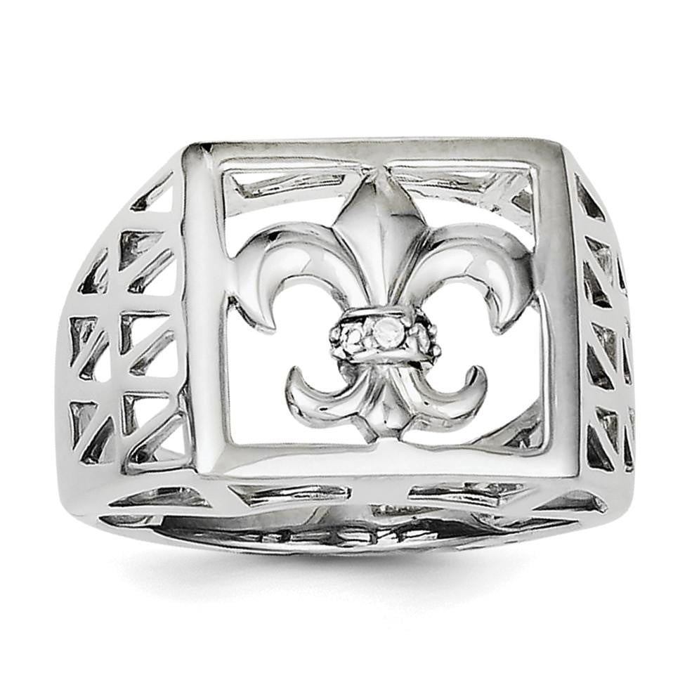 Sterling Silver Rhodium Plated CZ Fleur de lis Ring - shirin-diamonds