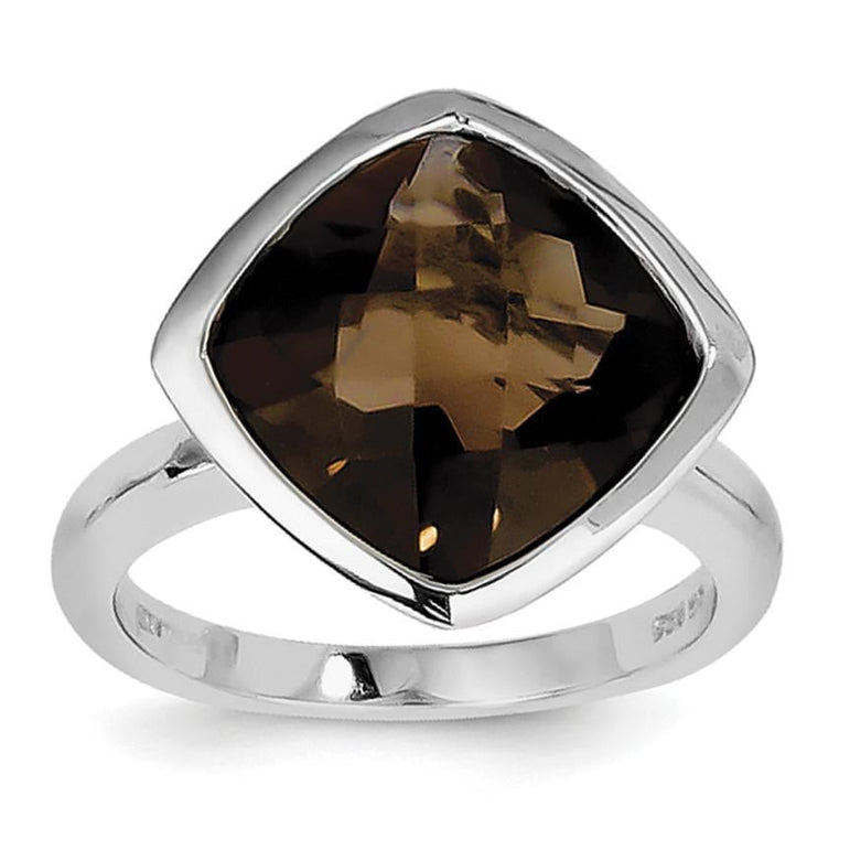 Sterling Silver Rhodium Smoky Quartz Ring - shirin-diamonds