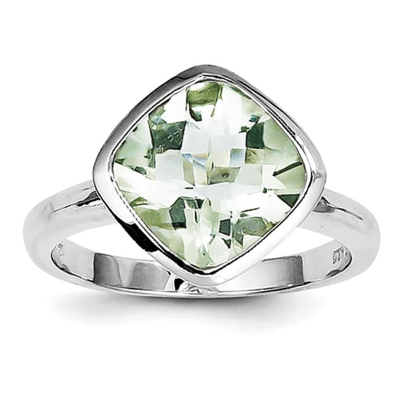 Sterling Silver Rhodium Green Quartz Ring - shirin-diamonds
