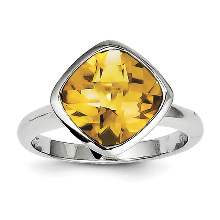 Sterling Silver Rhodium Citrine Ring - shirin-diamonds