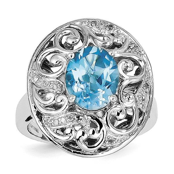Sterling Silver Rhodium Blue Topaz and Diam. Ring - shirin-diamonds