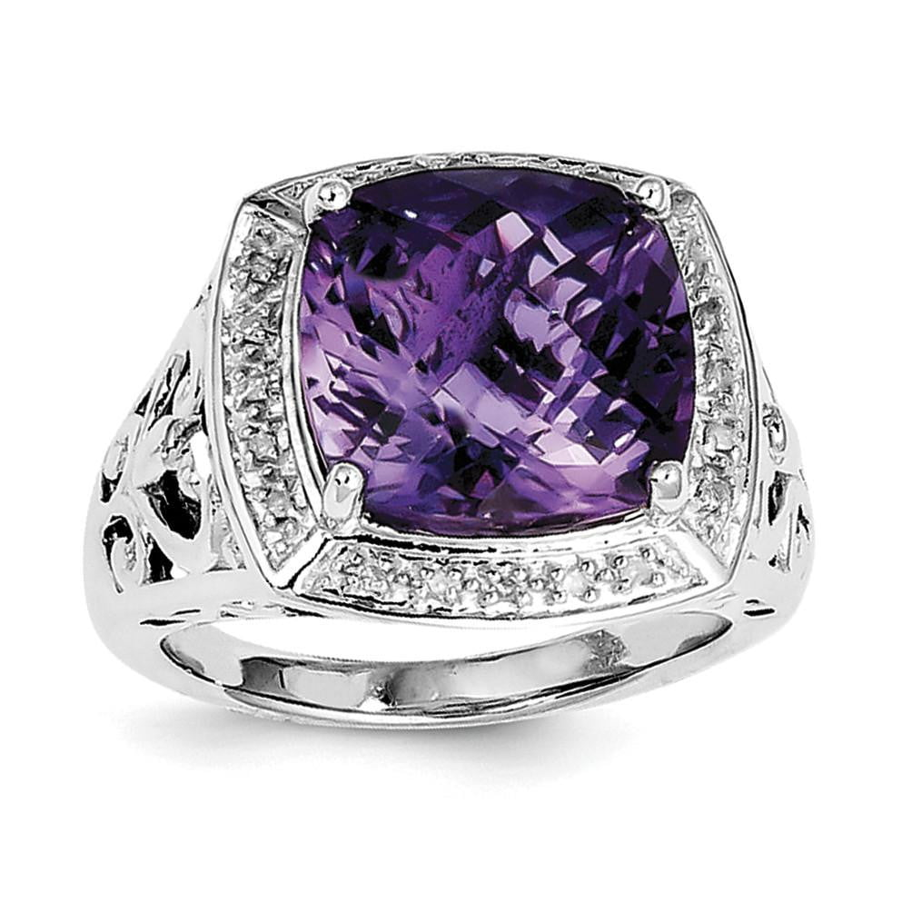 Sterling Silver Rhodium-plated Amethyst and Diamond Ring - shirin-diamonds