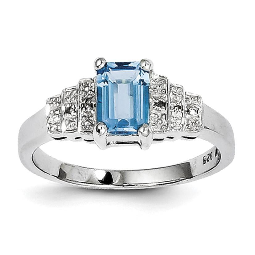 Sterling Silver Rhodium Plated Diamond & Light Swiss Blue Topaz Ring - shirin-diamonds
