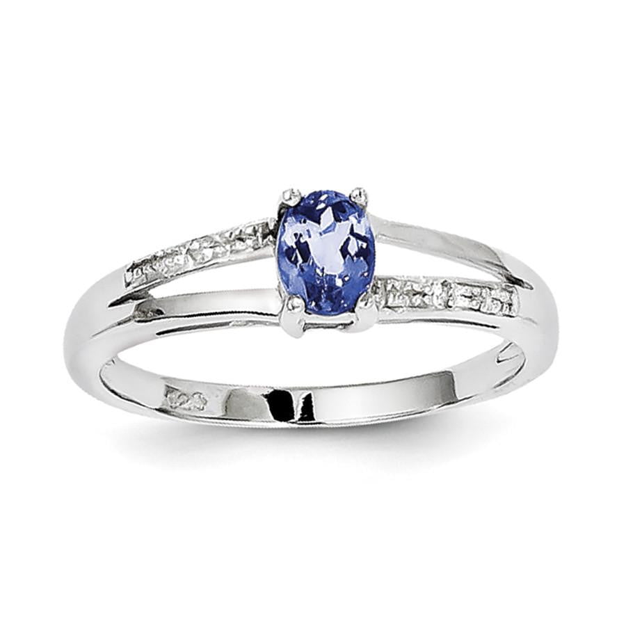 Sterling Silver Rhodium Plated Diamond and Tanzanite Ring - shirin-diamonds
