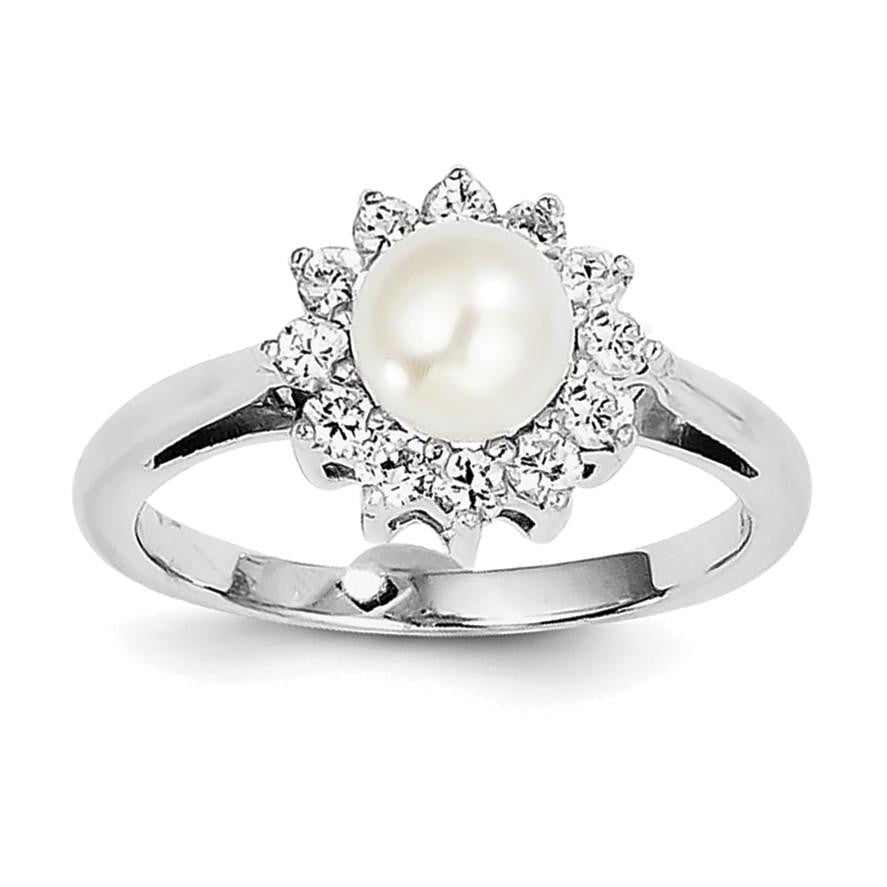 Sterling Silver Rhodium Plated CZ and FW Cultured Pearl Ring - shirin-diamonds