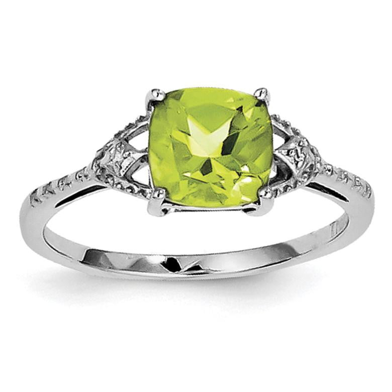 Sterling Silver Rhodium Plated Diamond and Peridot Ring - shirin-diamonds