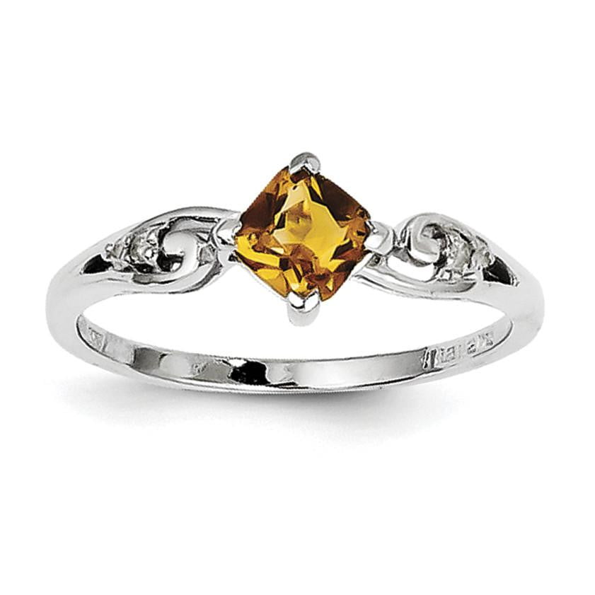 Sterling Silver Rhodium Plated Diamond and Citrine Cushion Ring - shirin-diamonds