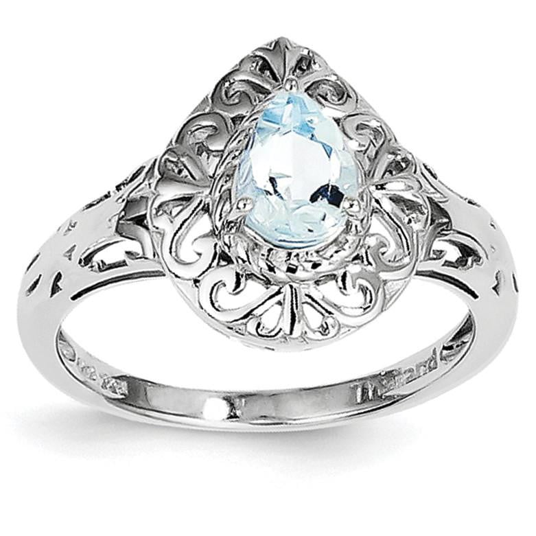 Sterling Silver Rhodium Plated Aquamarine Teardrop Ring - shirin-diamonds