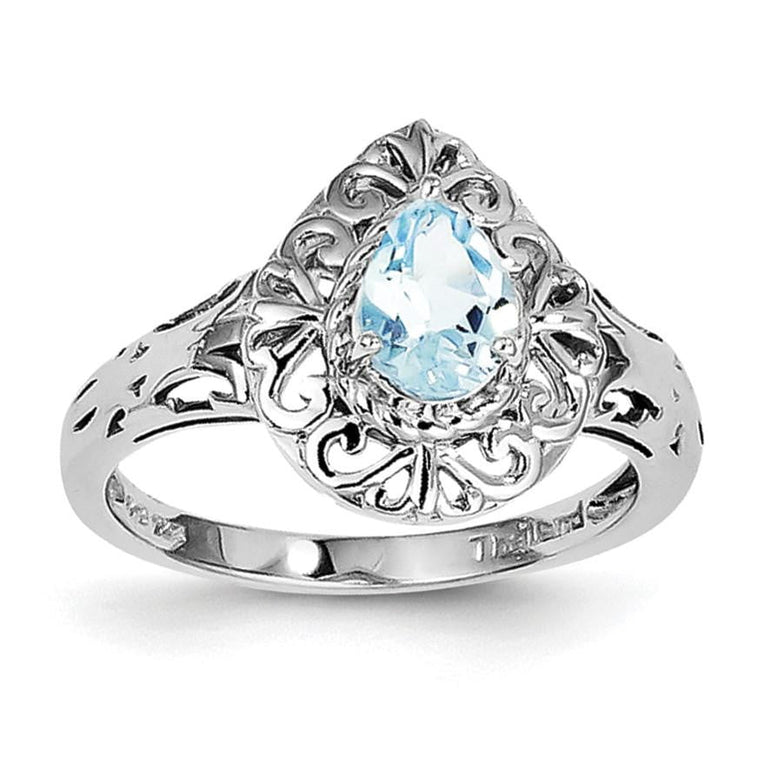 Sterling Silver Rhodium Plated Sky Blue Topaz Teardrop Ring - shirin-diamonds