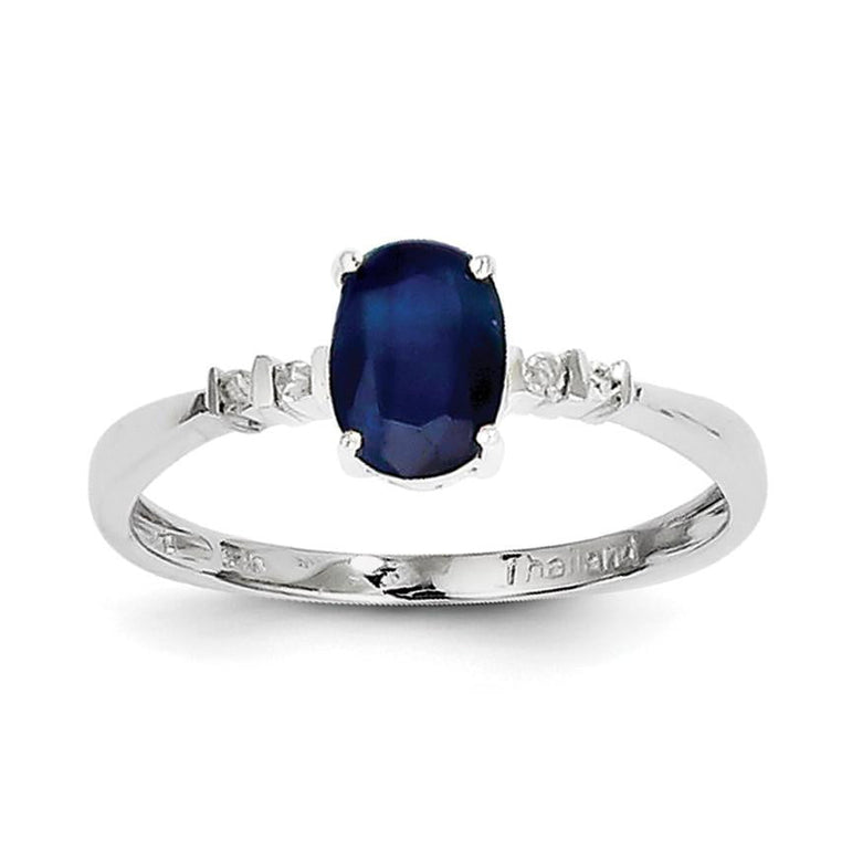Sterling Silver Rhodium Plated Diamond & Sapphire Oval Ring - shirin-diamonds