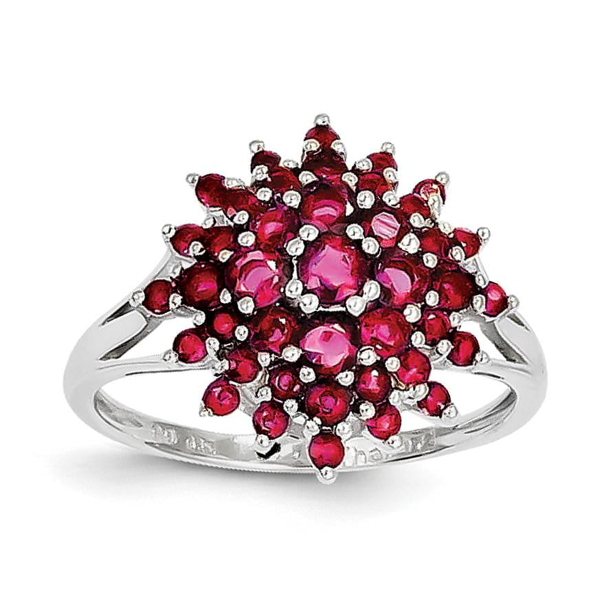 Sterling Silver Rhodium-plated Ruby Ring - shirin-diamonds