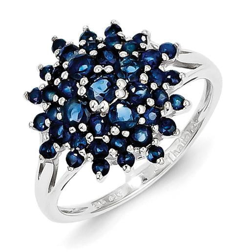Sterling Silver Rhodium-plated Sapphire Ring - shirin-diamonds