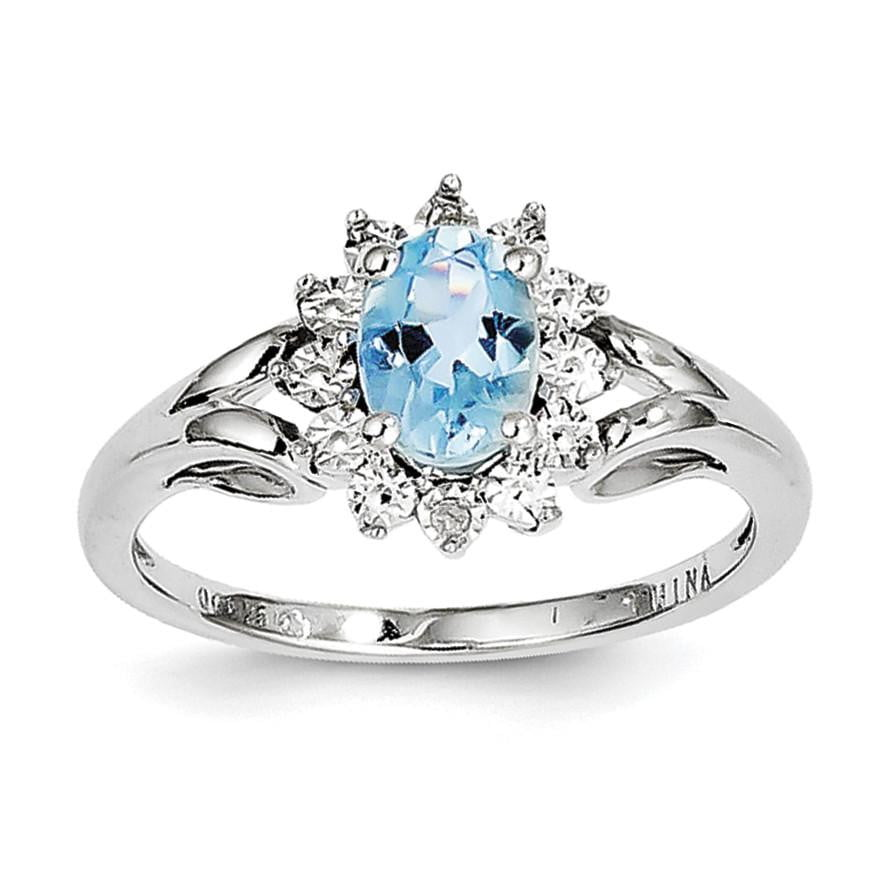 Sterling Silver Rhodium Diam. & Light Blue Topaz Ring - shirin-diamonds