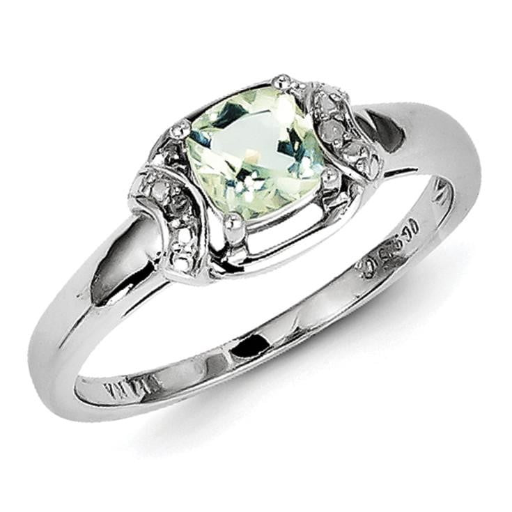 Sterling Silver Rhodium Diam. & Green Quartz Ring - shirin-diamonds