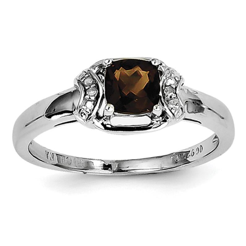 Sterling Silver Rhodium Diam. & Smoky Quartz Ring - shirin-diamonds