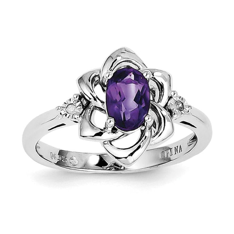Sterling Silver Rhodium-plated Diamond & Amethyst Ring - shirin-diamonds
