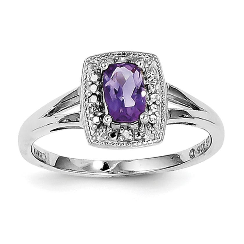 Sterling Silver Rhodium-plated Amethyst Diamond Ring - shirin-diamonds