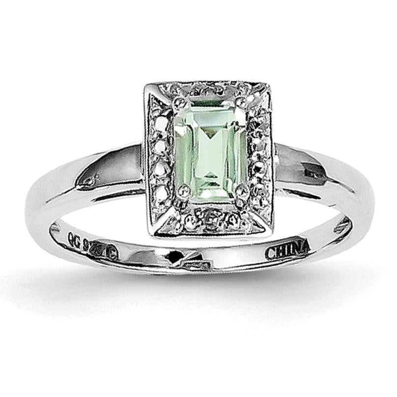 Sterling Silver Rhodium Green Quartz Diam. Ring - shirin-diamonds