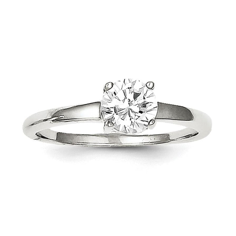 Sterling Silver Rhodium-plated Solitaire Round CZ Ring - shirin-diamonds