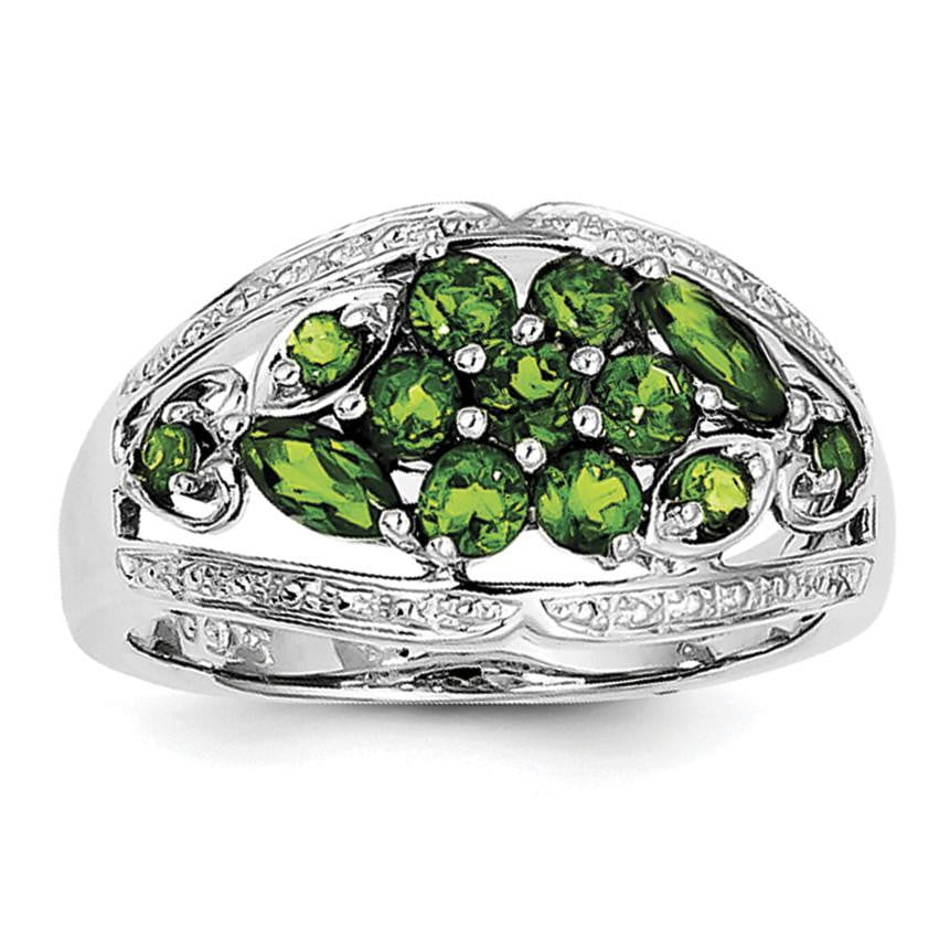 Sterling Silver Rhodium Chrome Diopside Ring - shirin-diamonds