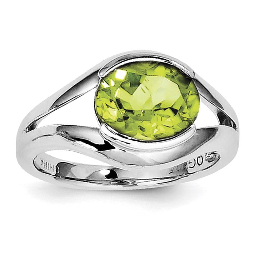 Sterling Silver Rhodium Peridot Ring - shirin-diamonds