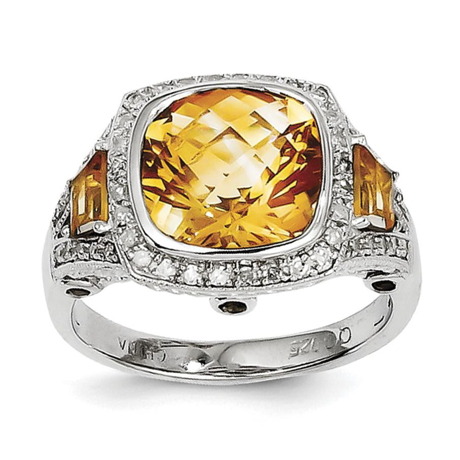 Sterling Silver Rhodium Diam. and Citrine Ring - shirin-diamonds