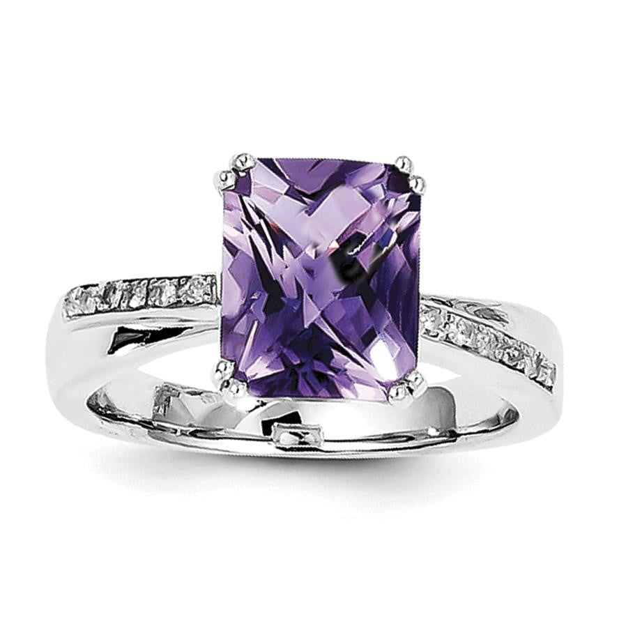 Sterling Silver Rhodium-plated Diamond and Amethyst Ring - shirin-diamonds