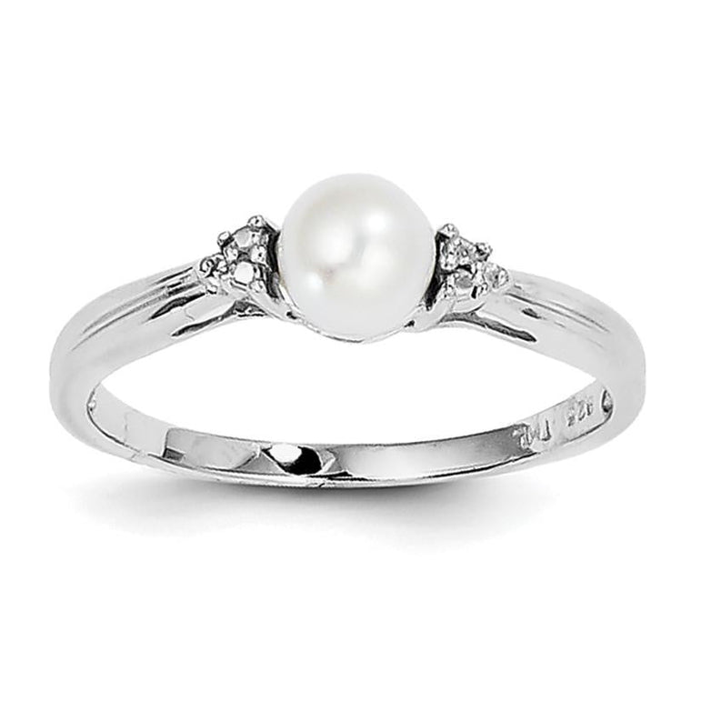 Sterling Silver Rhodium Plated Diamond and FW Cultured Pearl Ring - shirin-diamonds