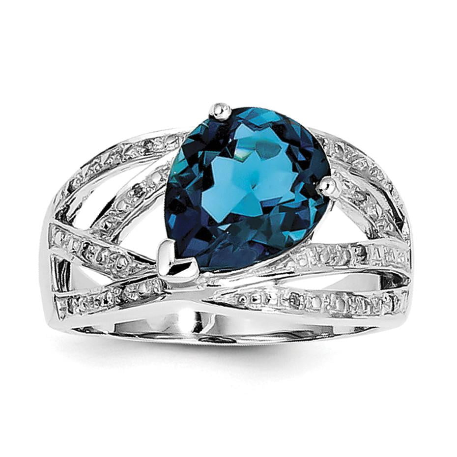 Sterling Silver Rhodium Plated Diamond & London Blue Topaz Ring - shirin-diamonds