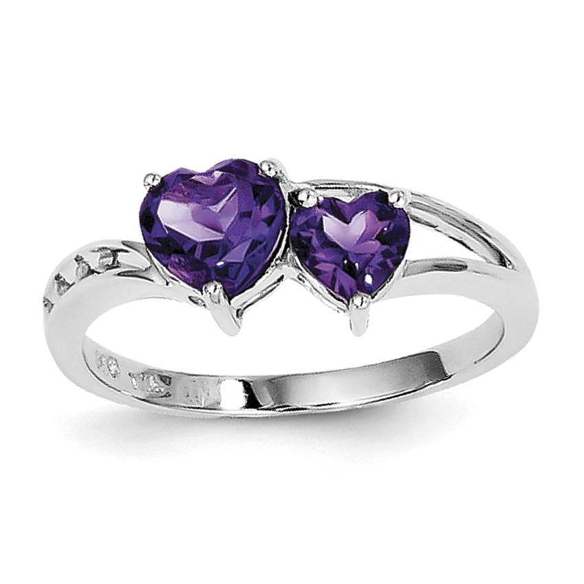 Sterling Silver Rhodium Plated Diamond and Amethyst Heart Ring - shirin-diamonds