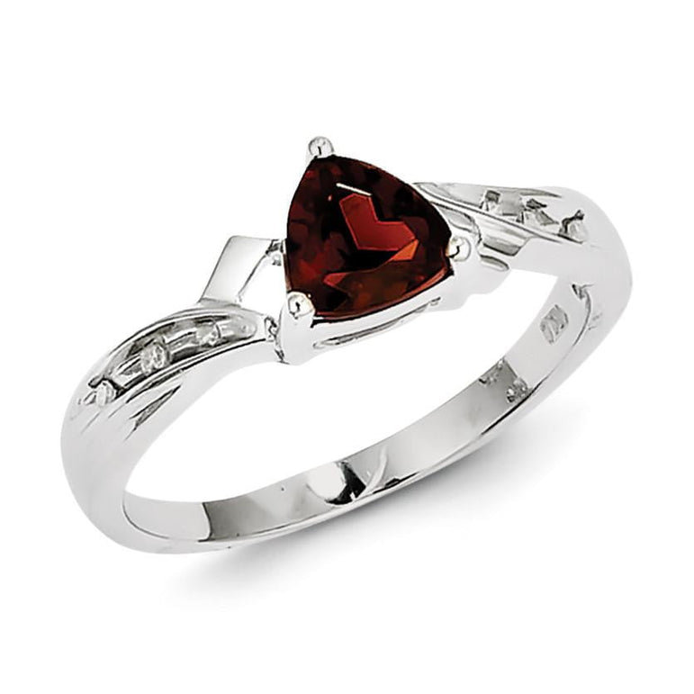 Sterling Silver Rhodium Plated Diamond and Garnet Heart Ring - shirin-diamonds