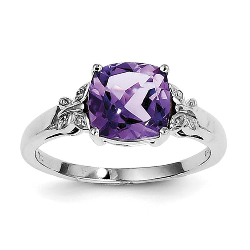Sterling Silver Rhodium Plated Diamond and Amethyst Square Ring - shirin-diamonds