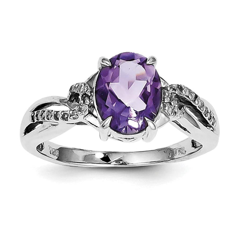 Sterling Silver Rhodium Plated Diamond and Amethyst Oval Ring - shirin-diamonds
