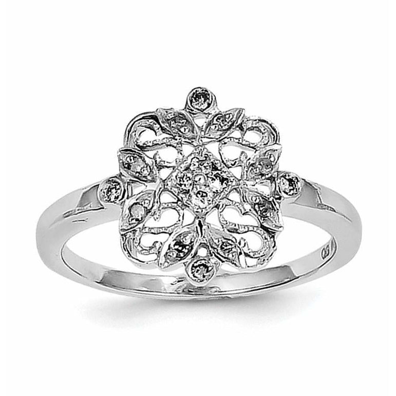 Sterling Silver Rhodium Diam. Fashion Ring - shirin-diamonds