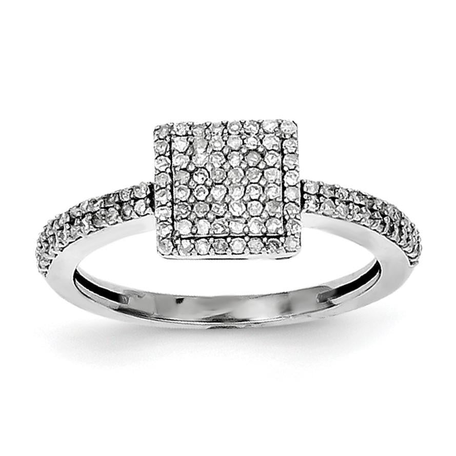 Sterling Silver Rhodium Diam. Square Ring - shirin-diamonds