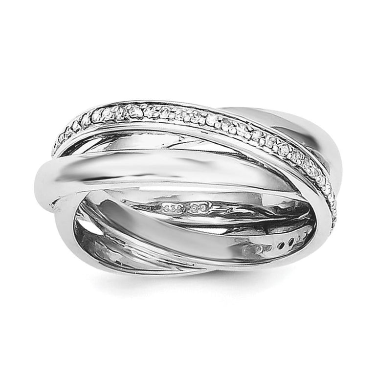 Sterling Silver Rhodium Diam. Band - shirin-diamonds