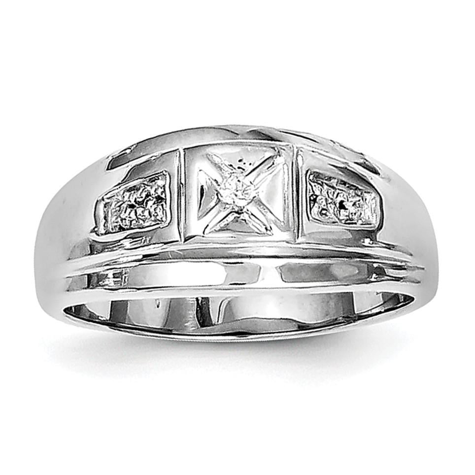 Sterling Silver Rhodium Plated Diamond Men's Ring - shirin-diamonds